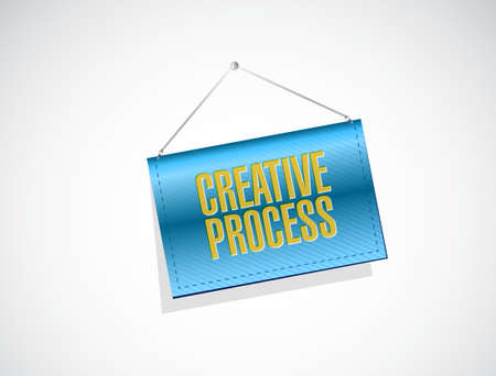 creative process hanging banner sign concept illustration design