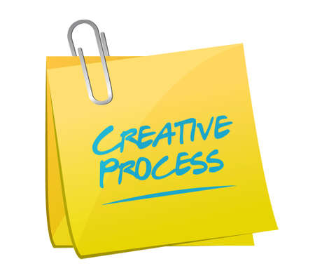 memo: creative process memo post sign concept illustration design