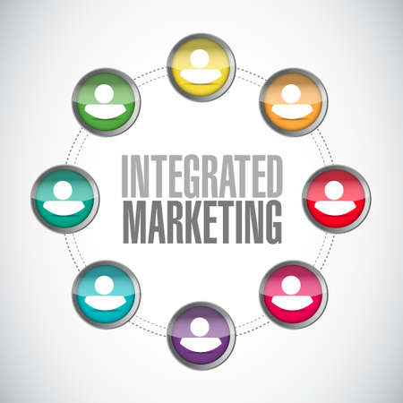 integrated: Integrated Marketing people connection sign concept illustration design graphic icon