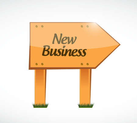 new business: new business wood sign concept illustration design graphic
