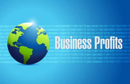 presentation screen: Business profits international sign concept illustration design graphic icon