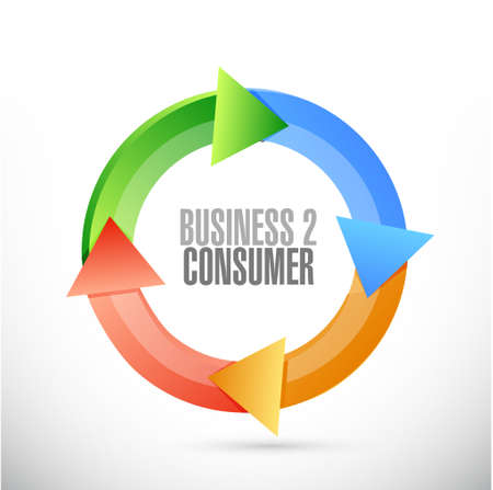 turning point: business to consumer cycle sign concept illustration design graphic
