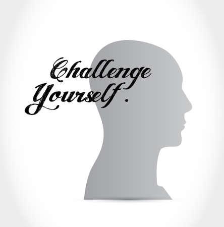 initiate: Challenge Yourself thinking brain sign concept illustration design graphic Illustration
