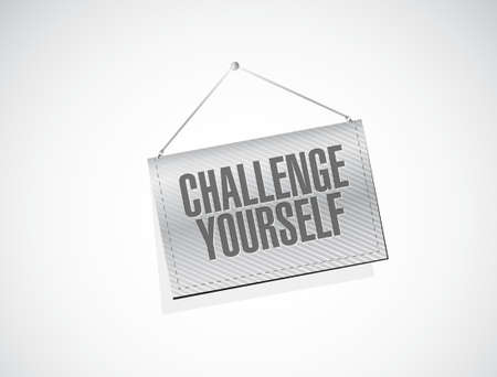 yourself: CHallenge Yourself banner sign concept illustration design graphic