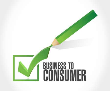 consumer: business to consumer check mark sign concept illustration design graphic Illustration