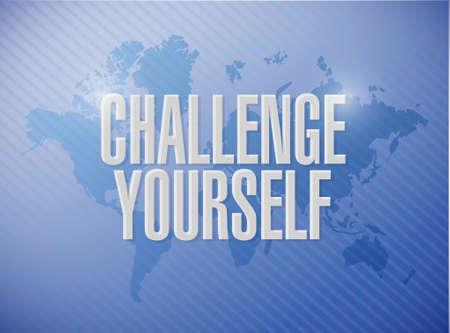 Challenge Yourself world map sign concept illustration design graphic Stock Illustratie