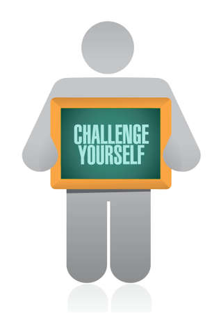 challenges: Challenge Yourself board sign concept illustration design graphic Illustration