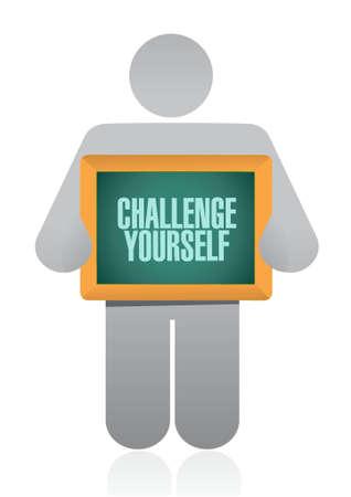 Challenge Yourself board sign concept illustration design graphic Stock Illustratie