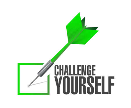 conquering: Challenge Yourself check dart sign concept illustration design graphic