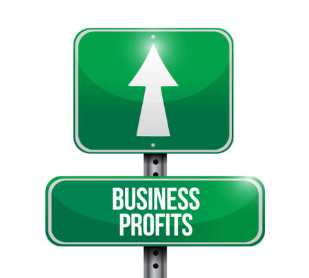 sign road: Business profits road sign concept illustration design graphic icon Illustration