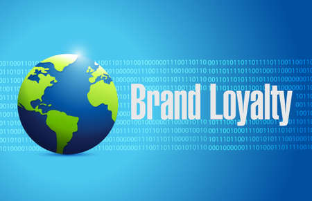 brand loyalty international binary globe sign concept illustration design graphic