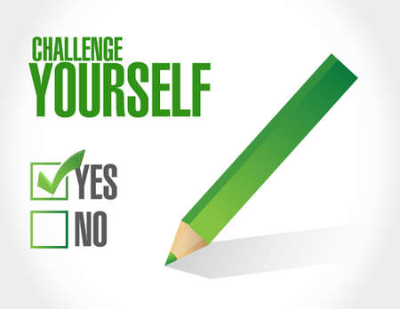 yourself: CHallenge Yourself approval sign concept illustration design graphic
