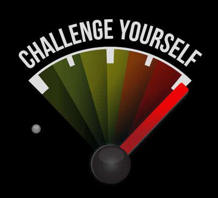 Challenge Yourself meter sign concept illustration design graphic