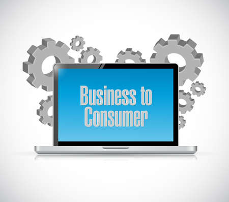 computer tech: business to consumer tech computer sign concept illustration design graphic Illustration