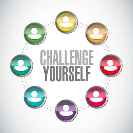 yourself: Challenge Yourself connections sign concept illustration design graphic Illustration