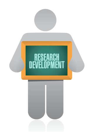 research development holding sign concept illustration design icon graphic Illustration