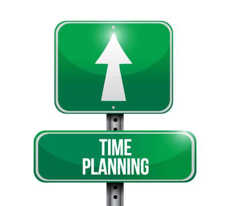 planificacion: time planning road sign concept illustration design graphic Vectores