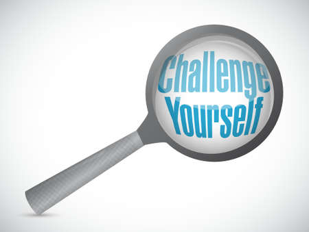 Challenge Yourself magnify review sign concept illustration design graphic