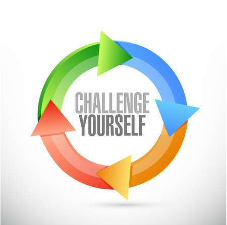 determined: Challenge Yourself cycle sign concept illustration design graphic