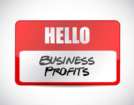 profits: Business profits name tag sign concept illustration design graphic icon