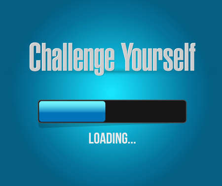 overcome a challenge: Challenge Yourself loading bar sign concept illustration design graphic