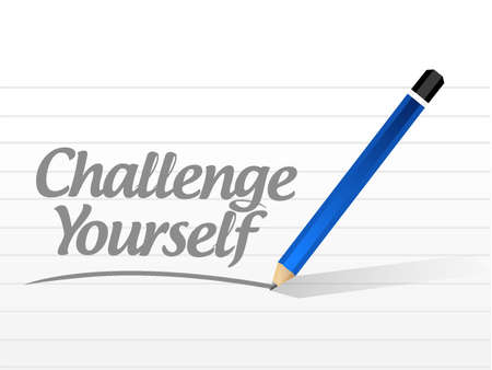 yourself: Challenge Yourself message sign concept illustration design graphic Illustration