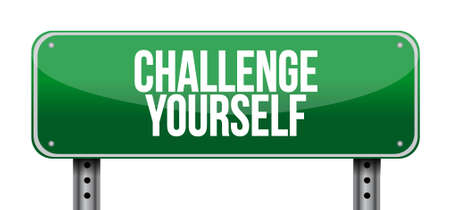 yourself: Challenge Yourself road sign concept illustration design graphic