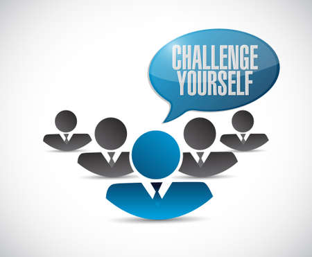 yourself: Challenge Yourself teamwork sign concept illustration design graphic