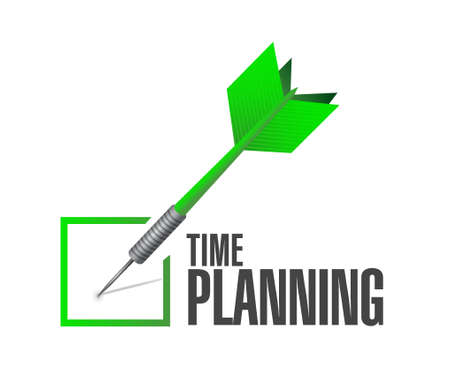 prioritizing: time planning check dart sign concept illustration design graphic
