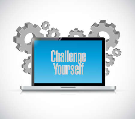 initiate: Challenge Yourself tablet sign concept illustration design graphic