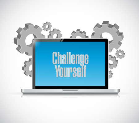 Challenge Yourself tablet sign concept illustration design graphic