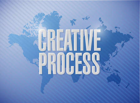 briefing: creative process world map sign concept illustration design Stock Photo