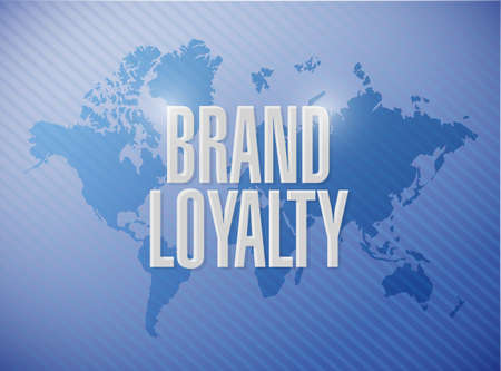 repurchase: brand loyalty world map sign concept illustration design graphic