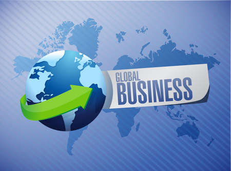 negocios internacionales: negocio global signo concepto internacional Ilustración de diseño gráfico