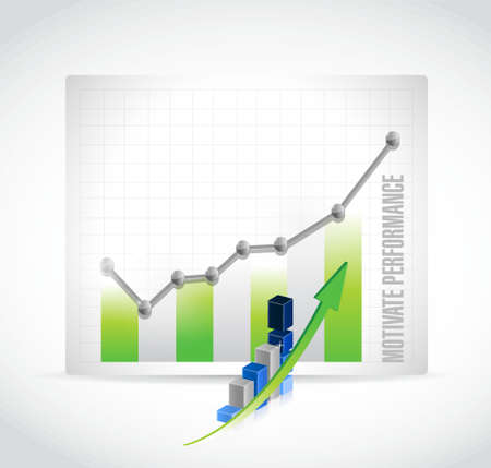 financial condition: Motivate Performance business graph sign concept illustration design Illustration
