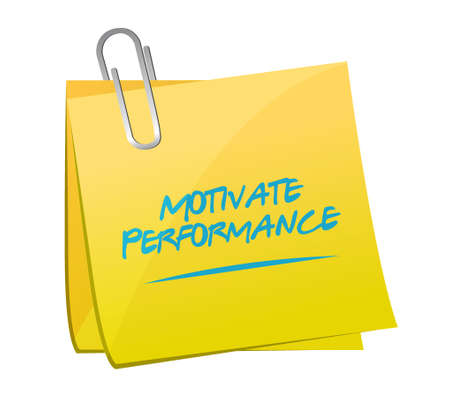 パフォーマンス: Motivate Performance memo post sign concept illustration design