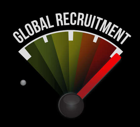 contracting: Global Recruitment meter sign concept illustration design graphic