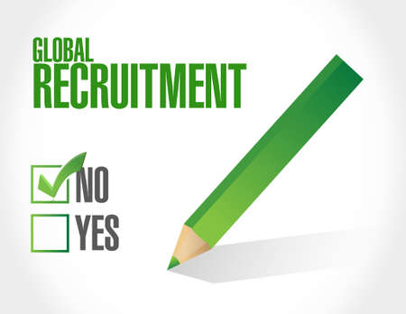 recruiting: no Global Recruitment sign concept illustration design graphic Vectores