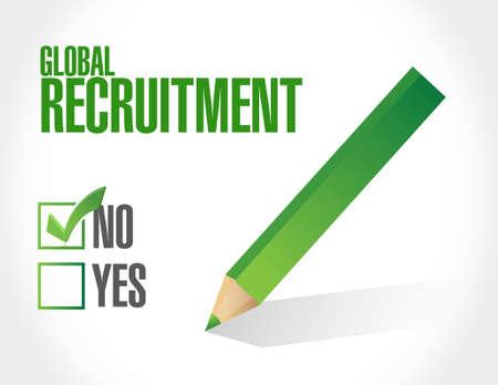 no Global Recruitment sign concept illustration design graphic Ilustração