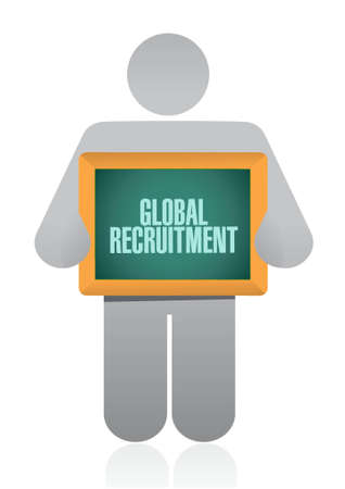contracting: Global Recruitment board sign concept illustration design graphic Illustration