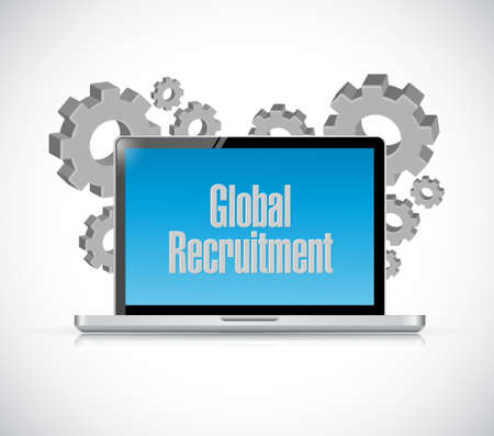 contracting: Global Recruitment tech computer sign concept illustration design graphic