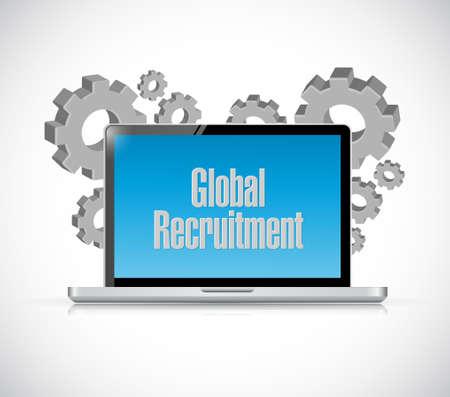 computer tech: Global Recruitment tech computer sign concept illustration design graphic