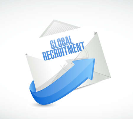 e recruitment: Global Recruitment mail sign concept illustration design graphic