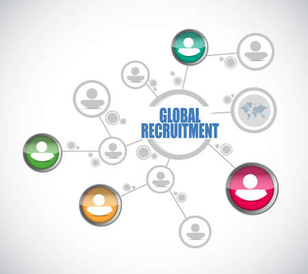 contracting: Global Recruitment people diagram sign concept illustration design graphic