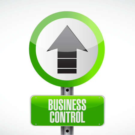 dominance: business control road sign concept illustration design