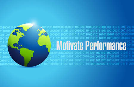 binary globe: Motivate Performance globe binary sign concept illustration design