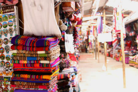 cuzco: local Peruvian products. Cuzco streets. Handmade traditional arts