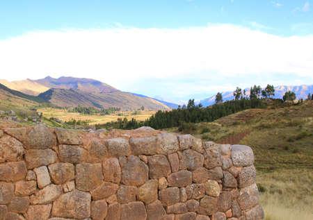 archaeological complex: Inca Ruins, Peru, South America. Archaeological complex, Cuzco. Stock Photo