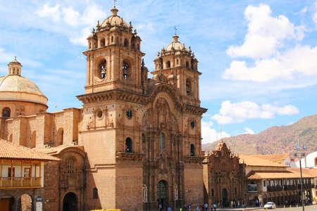la compania: Historic Iglesia de la Compania in the Plaza de Armas of Cusco in Peru. Sits on top of an old Inca Palace.