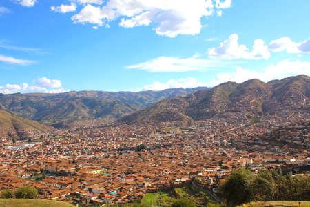 Cuzco, Peru. Skyline view from Saqsaywaman Archaeological complex Stok Fotoğraf